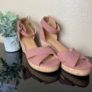 Tommy Hilfiger - Dusty Pink Wedge Sandals